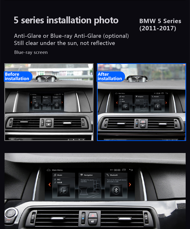 "Blue Ray Anti-Glare Bmw 5 F10 F11 10.25"" Android Touchscreen GPS Navigation Multimedia USB WIFI"