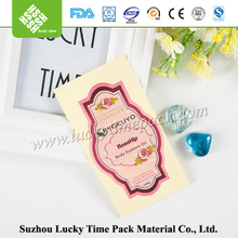 Create plastic custom aluminum red label tag for cosmetic/food container