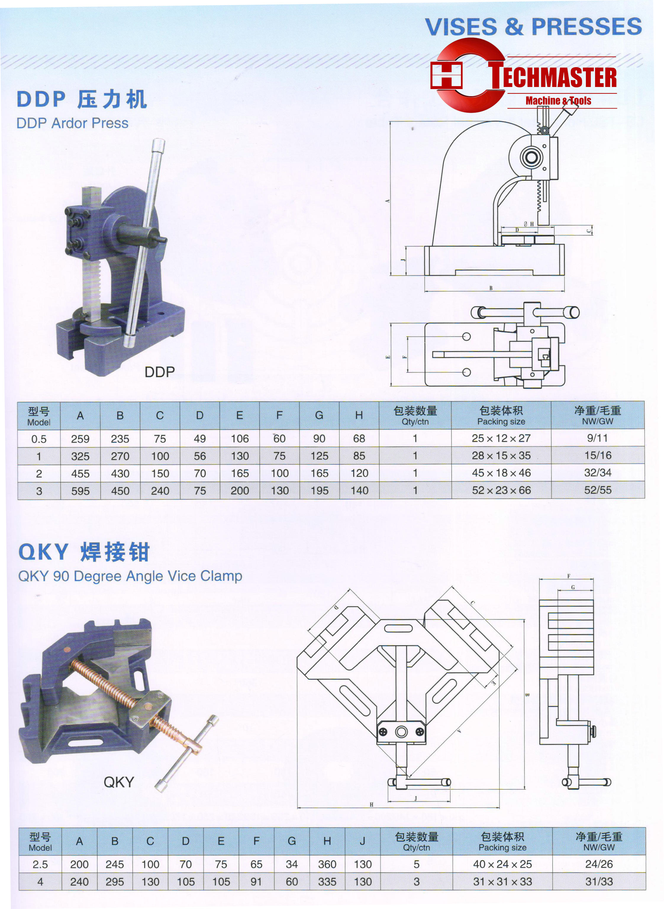 DDP ARBOR PRESS -QKY 90 DEGREE ANGLE VICE CLAMP