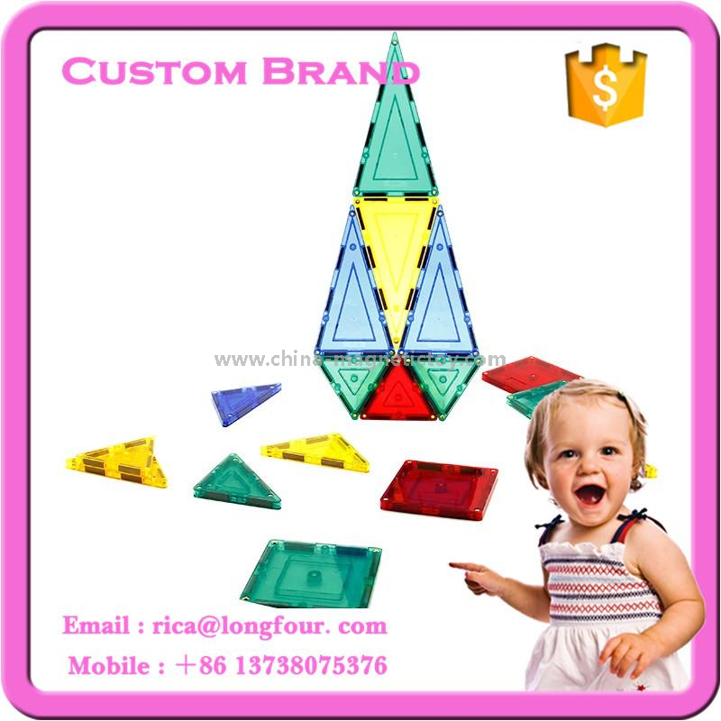 63pcs educational magentic tiles kids block toys with private label