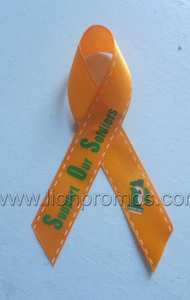 Custom Logo Public Campaign Events Red Silk Ribbon