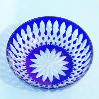 daily used elegant hand cut cobalt blue fruit glass bowl and plates