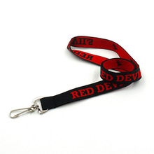 Customized ribbon lanyards with woven logo and metal J hook