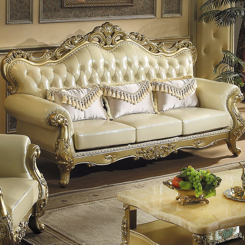 533 Wooden Leather Sofa for Living Room Furniture
