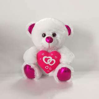 8inch White Valentine Bears with Red in Hand Valentines Gifts