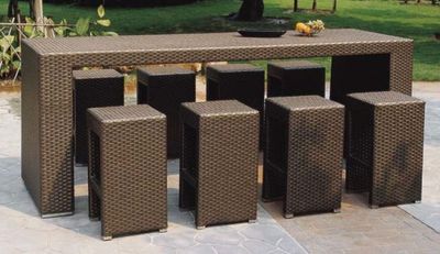 Rattan Bar Furniture Table and Stool for Outdoor Furniture