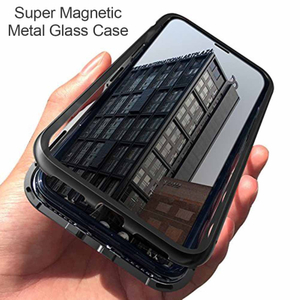 New Magnetic Flip Bumper Phone Case with Tempered Glass for IPhone Shockproof Phone Case Magnet Metal Phone Case for IPhone X