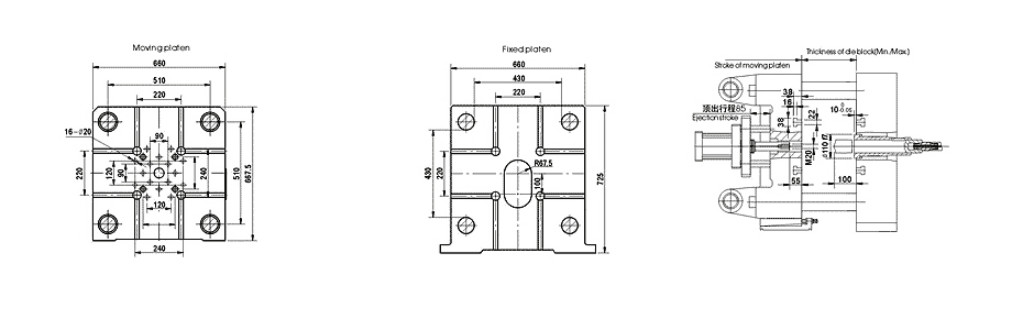 mold plate size of 130tons/1300kN Cold Chamber Die Casting Machine