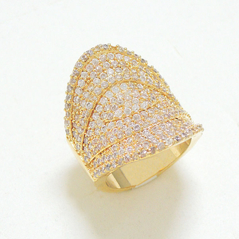 Gold Tone Pave Clear Cubic Zircornia Ring