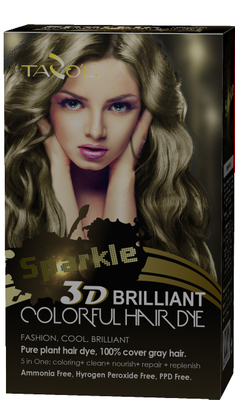 3D Briliant Sparkle Colorful Hair Dye Natural Brown