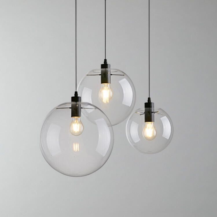 Hanging Light Round: Contemporary Hand Blown Glass Hanging Lamp Round Indoor