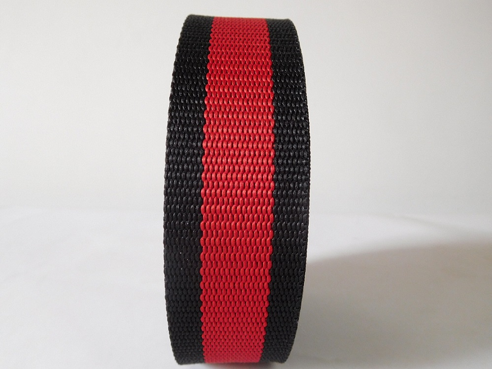 37mm black&red secondary color polyester webbing for belts