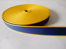 25mm blue&yellow secondary color polyester webbing for dog belt