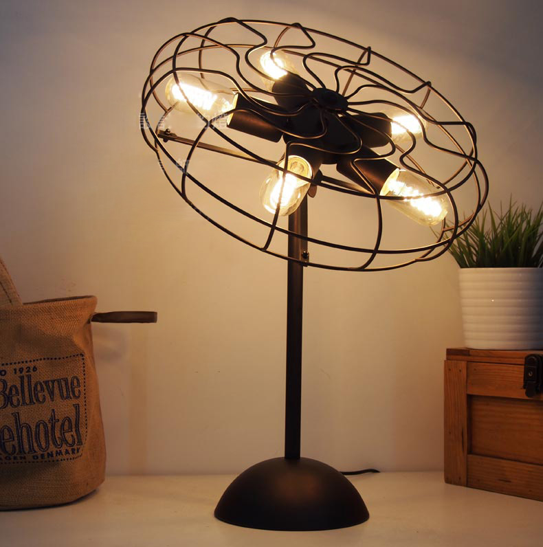 Cool industrial retro style fan shape bedside table lamp for How to make an industrial lamp