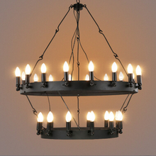Industrial vintage round shaped pendant light black hanging wire chandelier