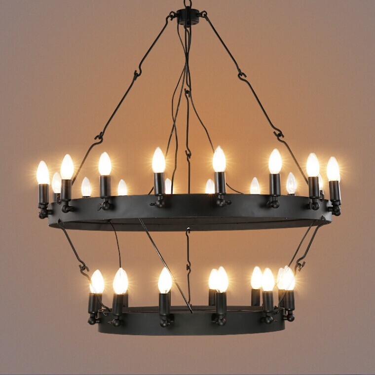 Industrial Vintage Round Shaped Pendant Light Black