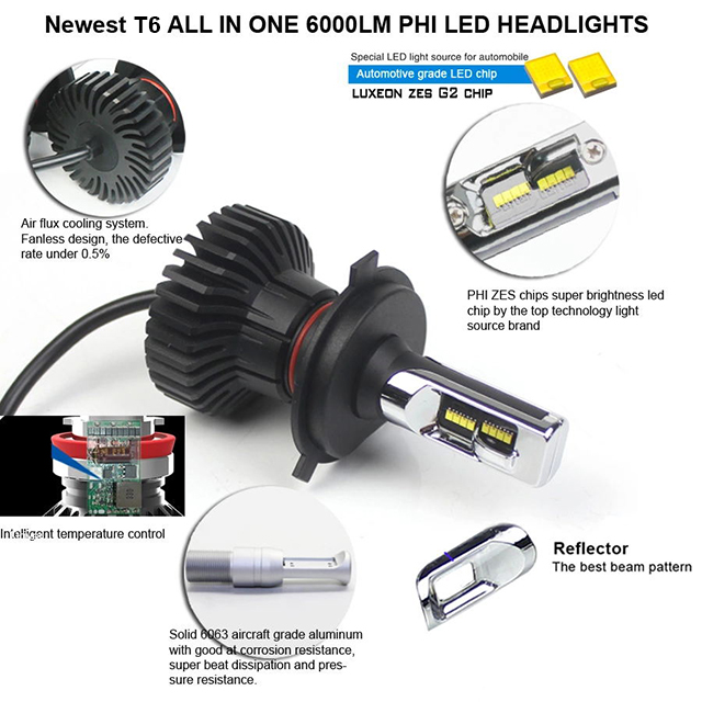 T6 car led headlight bulbs