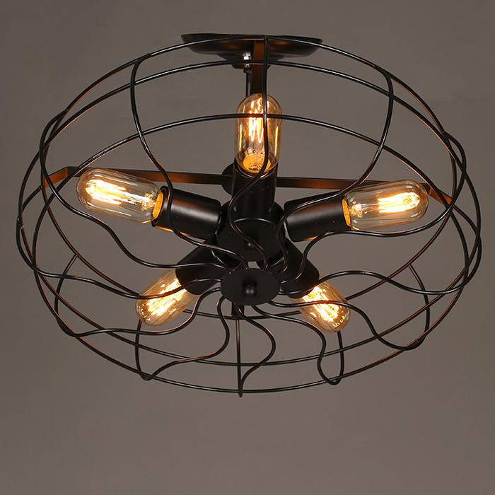 Industrial Vintage Rustic Loft Style Fan Shape Ceiling Chandelier Lighting