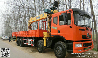 DRZ 8x4 dongfeng lorry truck mounted crane 8T-12T telescopic boom EURO3/4