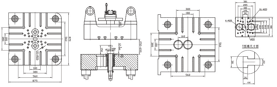 mold plate size of 280tons/2800kN Cold Chamber Die Casting Machine