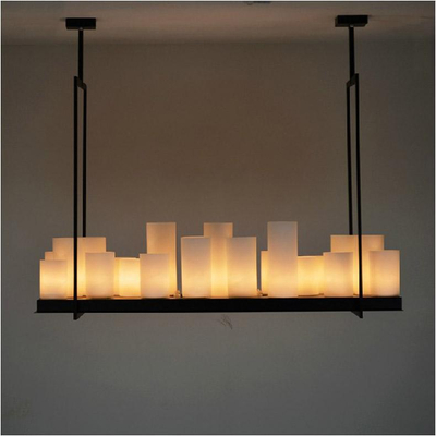 European style Rectangle modern candle decorative modern – White Candle Chandelier
