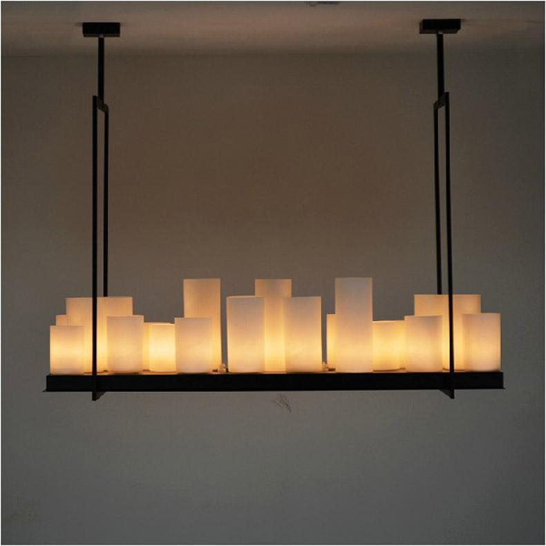 European Style Rectangle Modern Candle Decorative Chandelier Iron White Gl