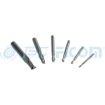 2 flute HSS end mill set, 6 pcs.