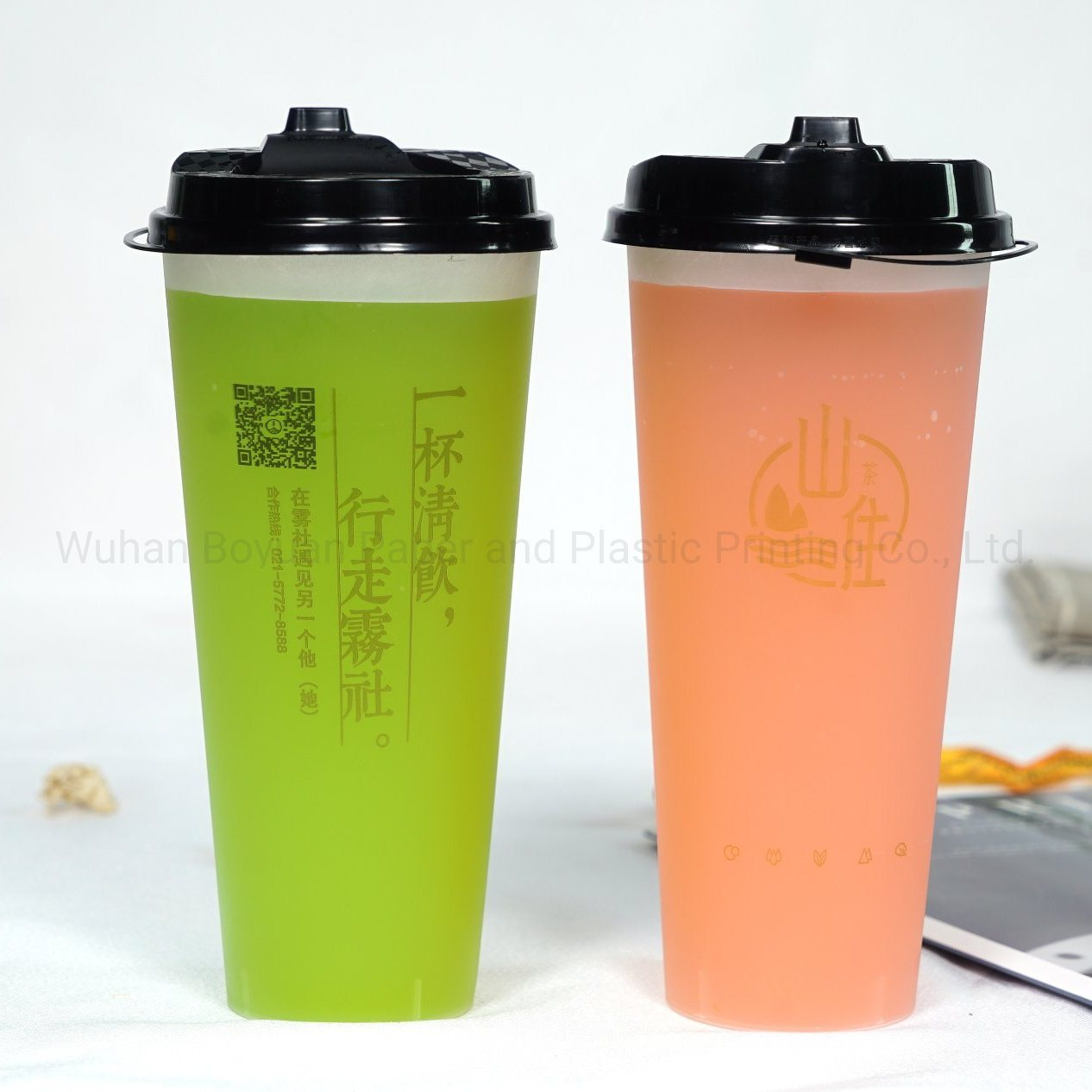 Customized Printed Disposable Plastic Cups with Lids