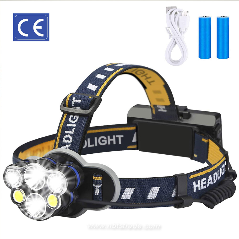 8 Lighting Mode Camping Headlight with 6 LED Bulbs