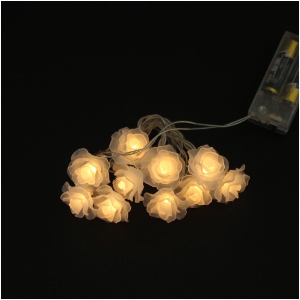 10 Simulation Pink Rose LED Battery Light String Flower Christmas Light