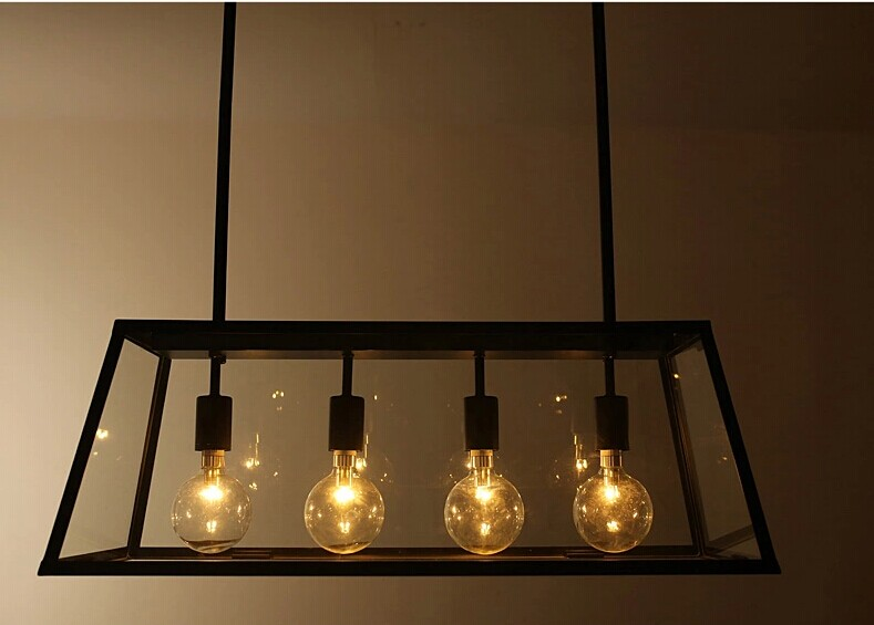 Rh metal glass box shape edison bulbs pendant lighting for Lamp industrieel