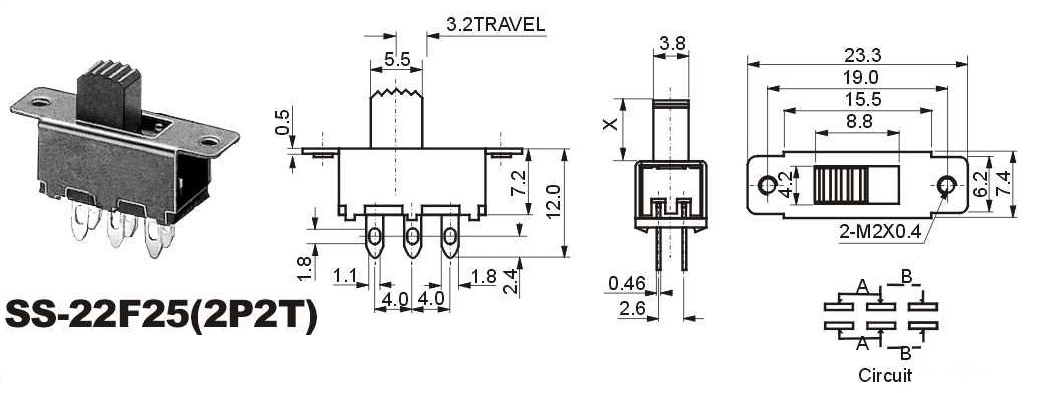 SS-22F25 two way slide switch with 6 terminals