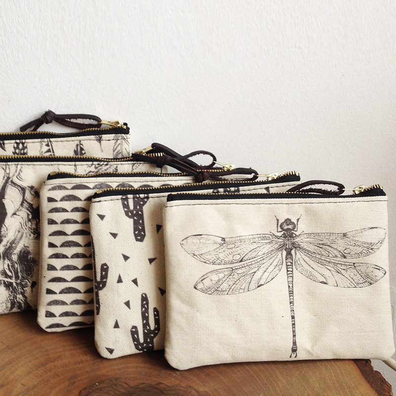 Canvas Zipper pouch/Cosmetic bag/Make up bag