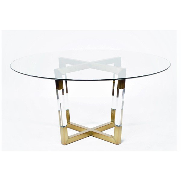 Clear Acrylic Base Glass Top Round Dining Table Modern Lucite Furniture Dinner  Table