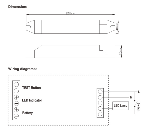 10%-80% lumens output emergency kit for led tube.