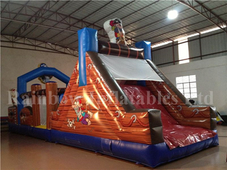 RB5038(11x3.5x4.5m) Inflatable Pirate Boat Obstacle Course With Small Slide For Sale