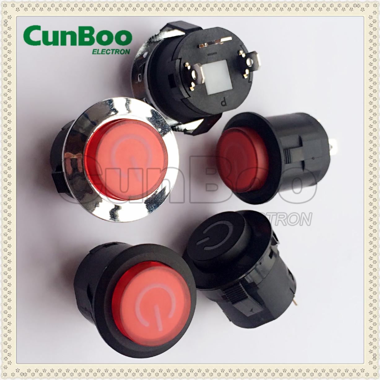round latching illuminated push button switch