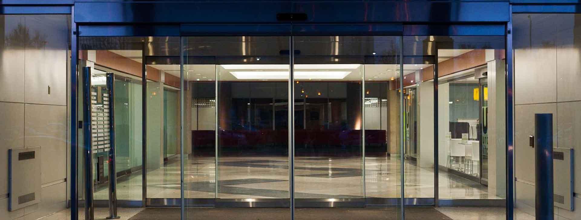 sliding glass door with sensor