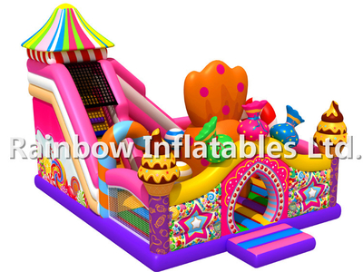 RB04054 (9x9x6m) Inflatable Hot candy theme funcity with slides for child