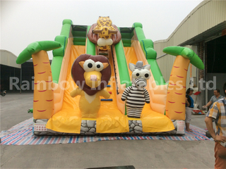 RB6038-1(7x5x5.5m) Inflatable Jungle Theme Customized Commercial Slide With Different Animals For Kids