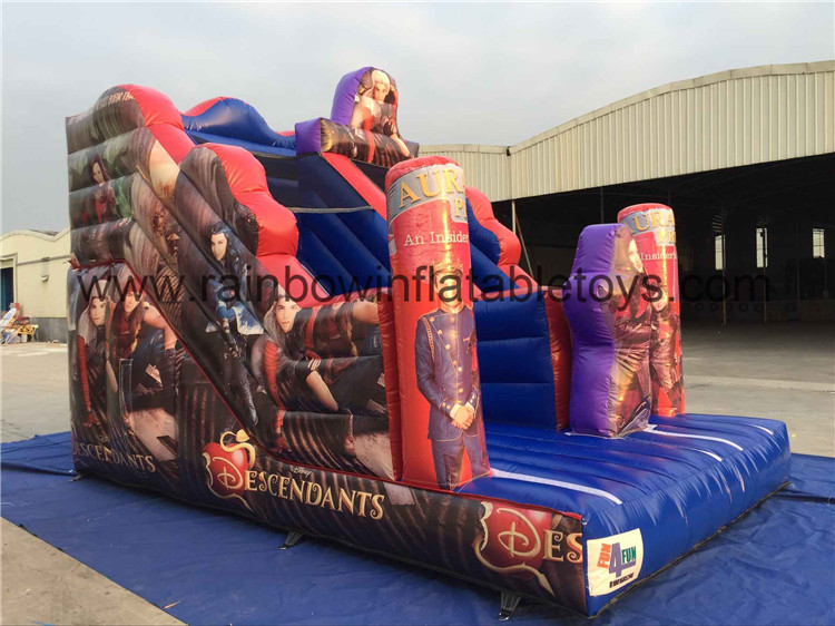 RB6038-6(5.4x3.5x4m) Inflatable Popular Descendants Theme Slide With Colorful Painting