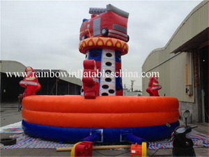RB13018(dia7mx5.6mh) Inflatable Commercial Firemen Theme Climbing Rock Games For Kids