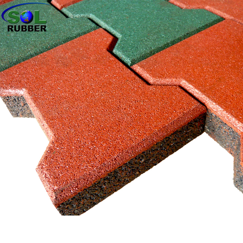 SOL RUBBER Outdoor Driveway Recycled Rubber Brick Tiles Patio Pavers Mats  Lowes Fine SBR Granules Surface