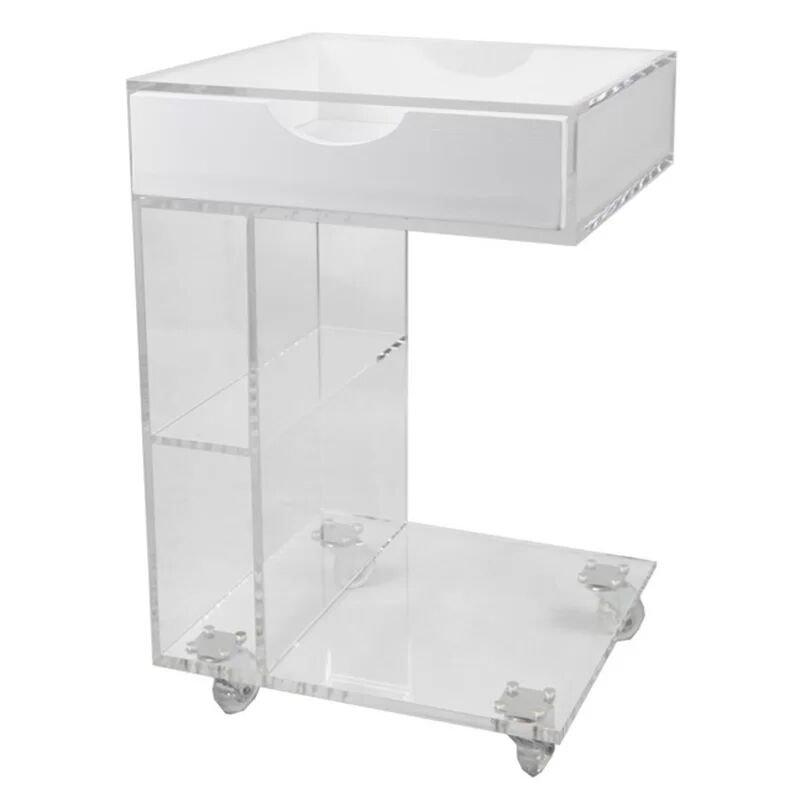 C Shape Modern Design Movable Coffee Table Clear Acrylic