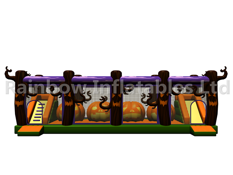 RB05206(12x5.5x4m) Inflatable Halloween Pumpkin Obstacle Course new 订