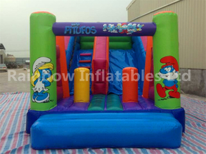 RB6107(3x6.5x4m) InflatableThe Smurfs dry slide For Kids