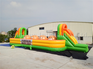 RB9004-2(17x6x3.4m) Inflatable Big Pumpkin Baller Game/Inflatable Wipe Out Sport Game For Sale