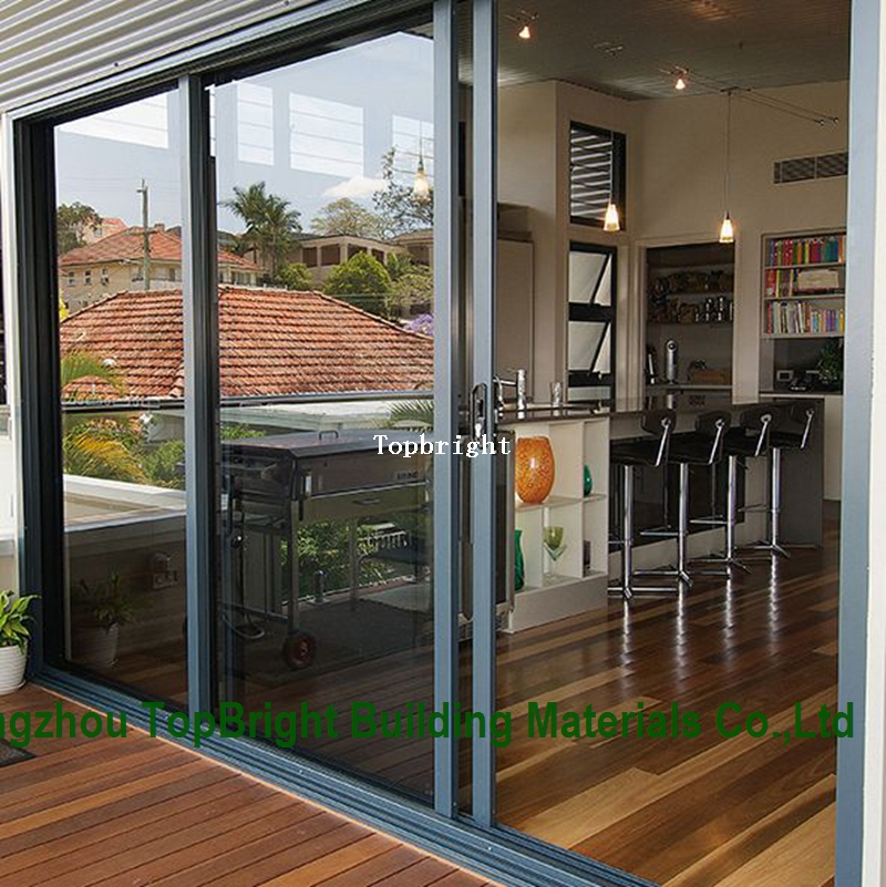 Commercial Building Double Glass Aluminum Sliding Door