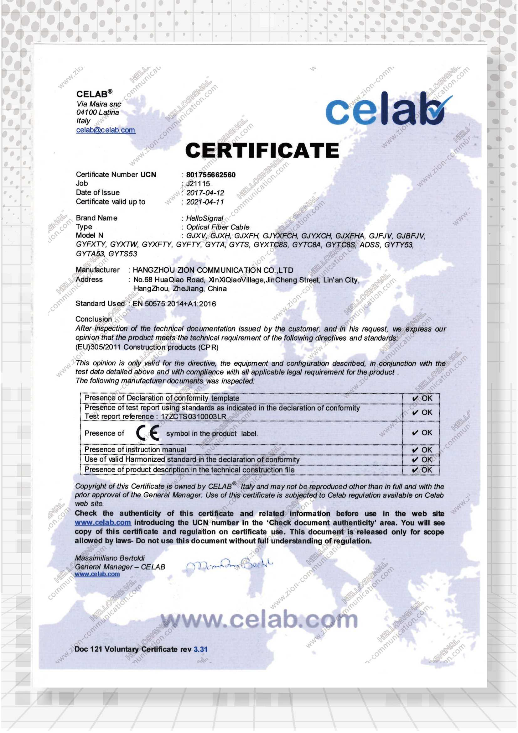Certificate zion communication cprzioncommunicationoptical fiber cable xflitez Gallery