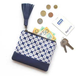 Fashion Leather Zipper Coin Pouch Card Holder Cotton Cash Wallet